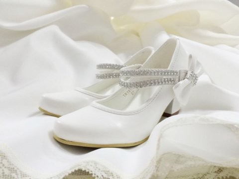Mature Sparkle Beaded Bow Detail Communion Shoes.j