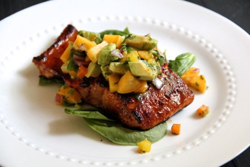 sugar crusted salmon with avocato peach salsa.png