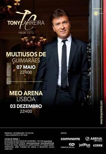 Cartaz da Tour 2016 do Tony Carreira em Portugal