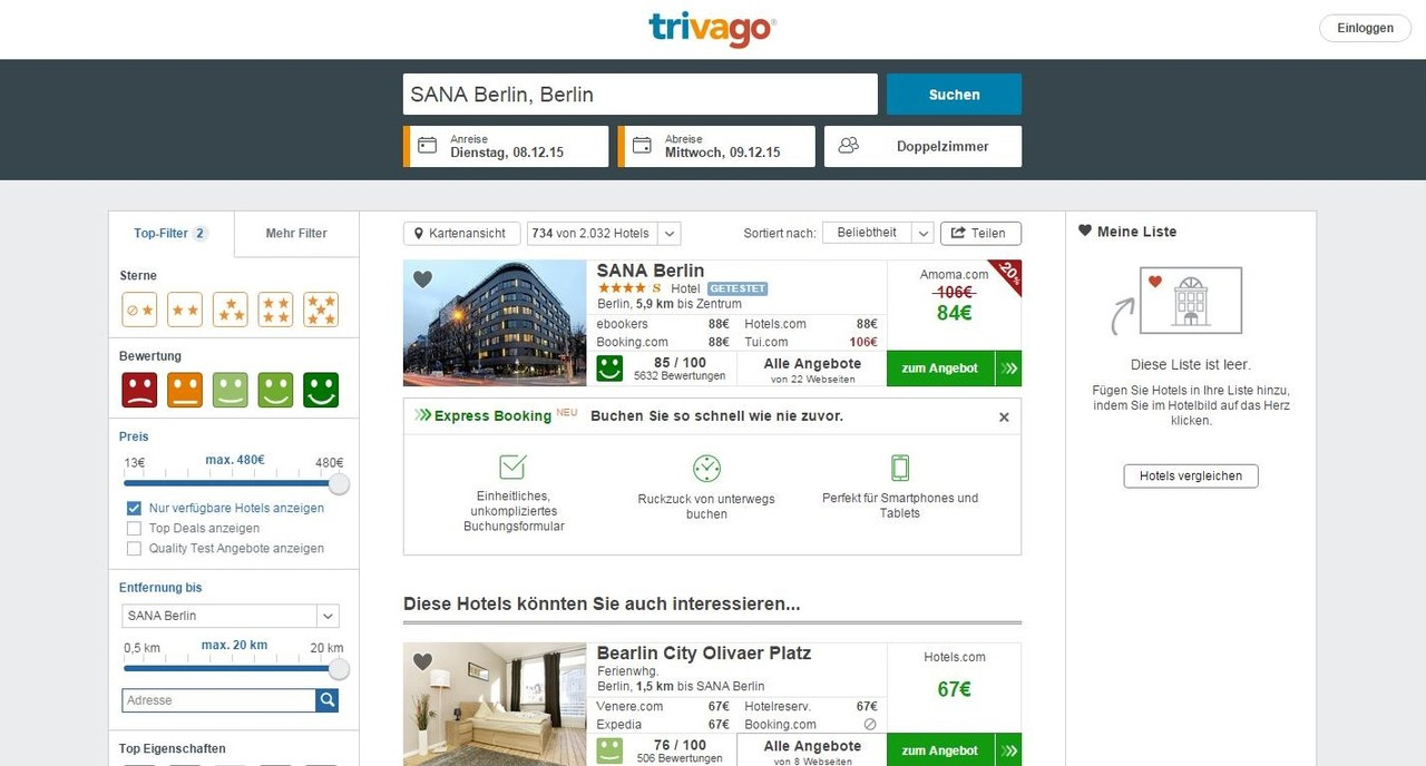trivago express booking