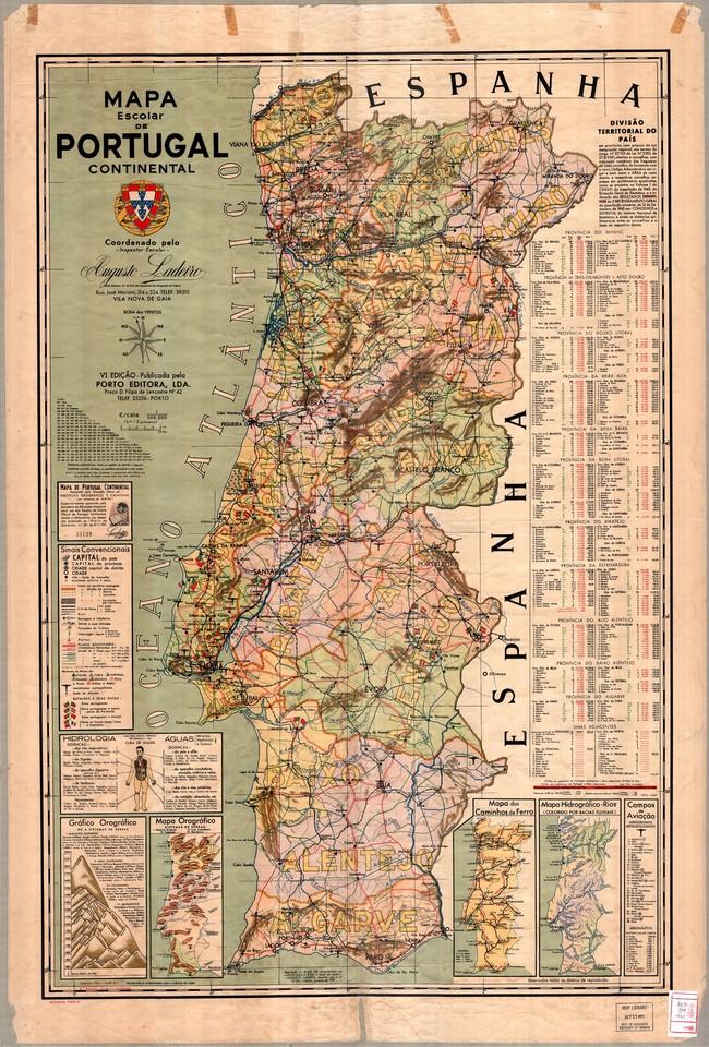 Mapa Escolar de Portugal Continental, VI.ª ed., Porto Editora, 1962