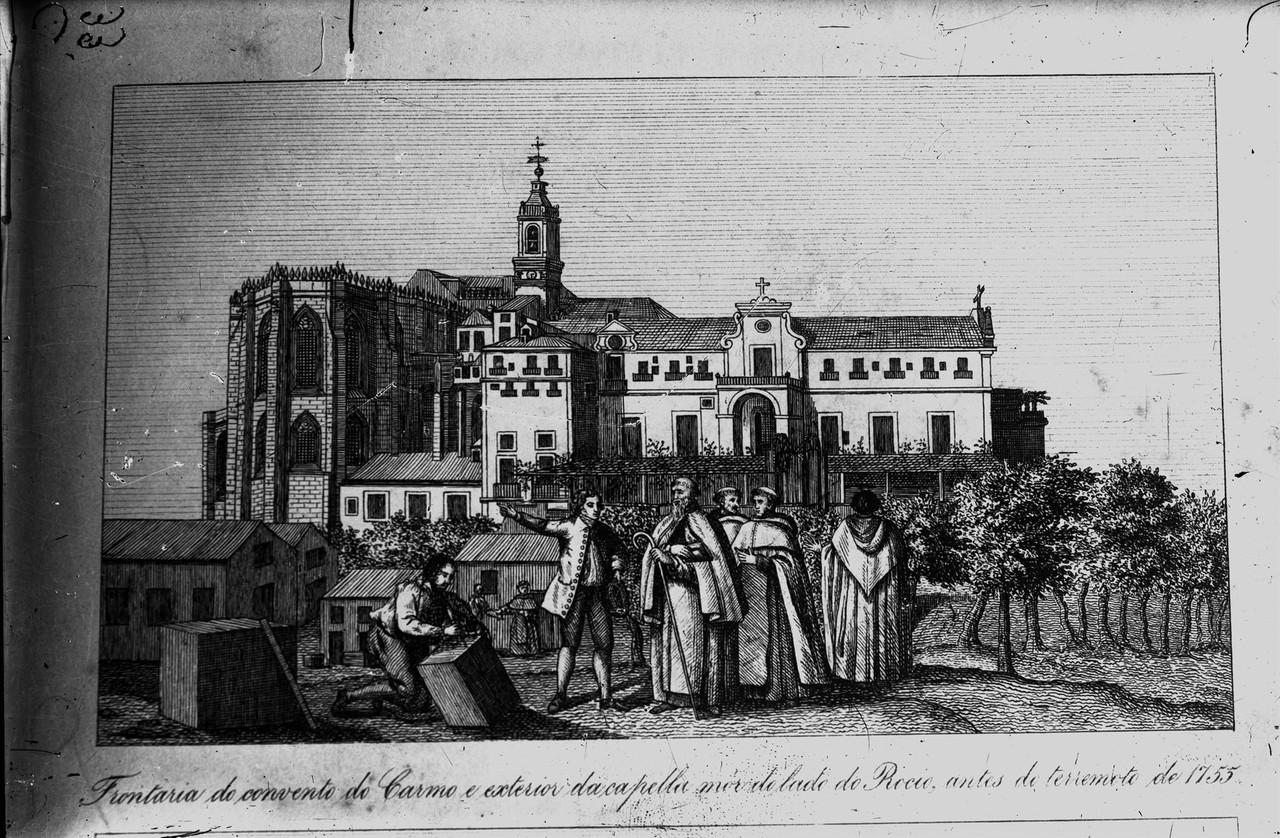 Frontaria do convento do Carmo e exterior da capel