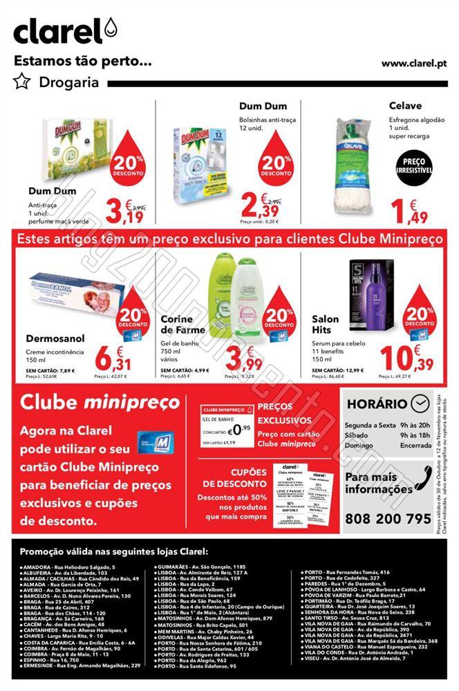 Antevisão Folheto CLAREL de 30 outubro a 12 novem