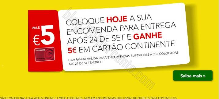 Ganhe 5€ em Cartão CONTINENTE até 21 setembro